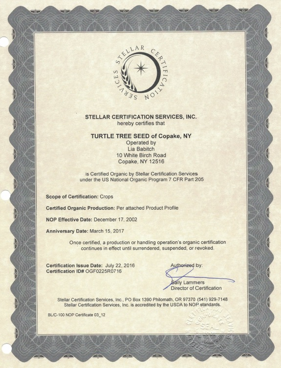 Organic and Biodynamic Certification | Turtle Tree Seed Initiative